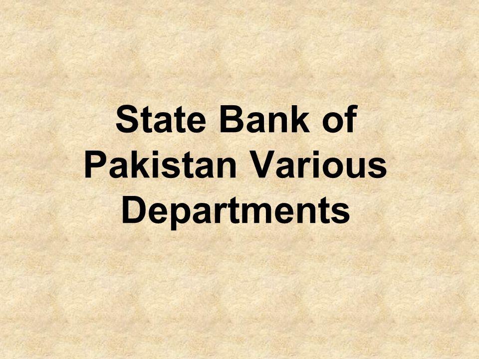 State Bank of Pakistan Various Departments
