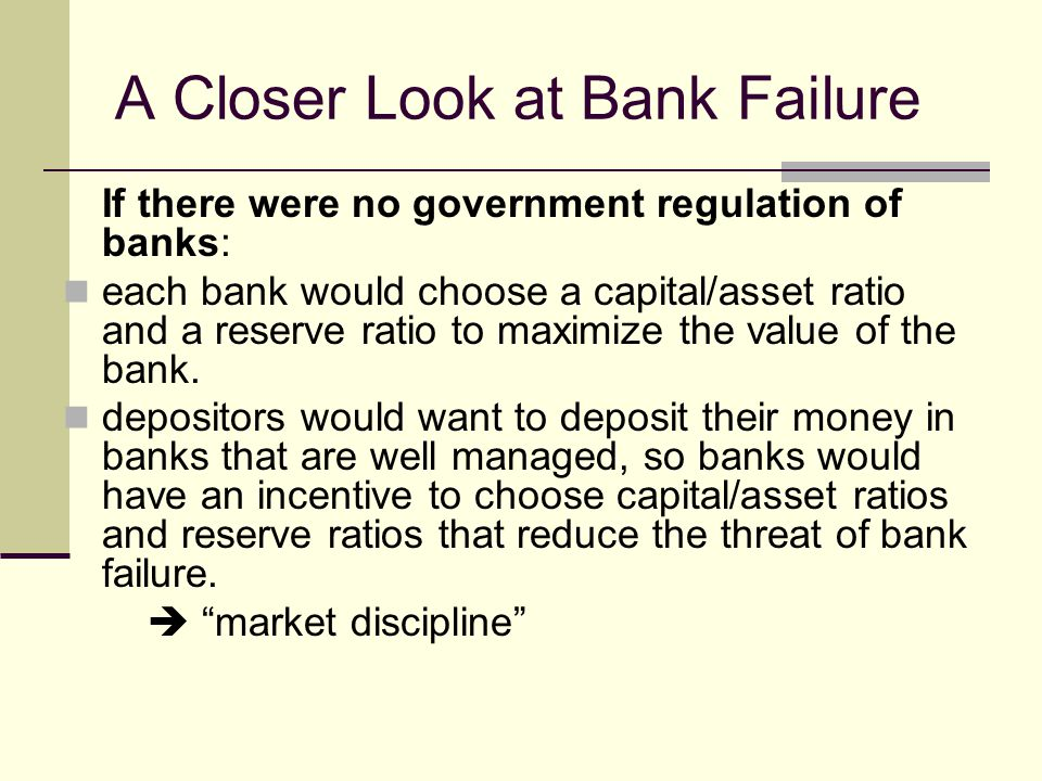 A Closer Look at Bank Failure If there were no government regulation of banks: each bank would choose a capital/asset ratio and a reserve ratio to maximize the value of the bank.