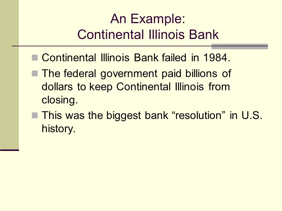 An Example: Continental Illinois Bank Continental Illinois Bank failed in 1984.