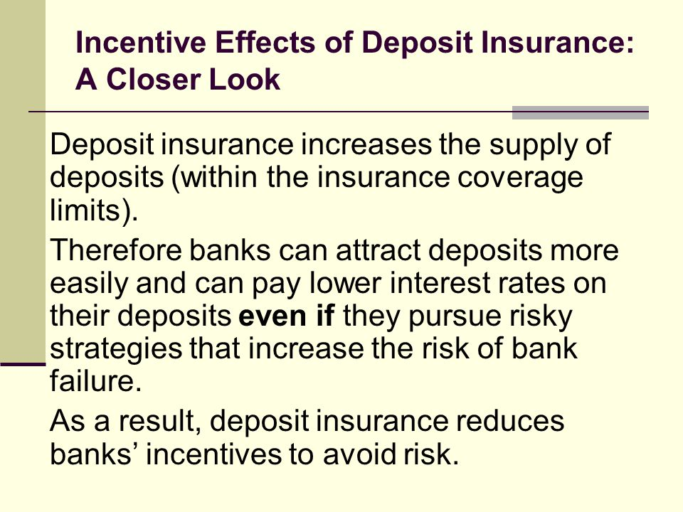 Incentive Effects of Deposit Insurance: A Closer Look Deposit insurance increases the supply of deposits (within the insurance coverage limits).