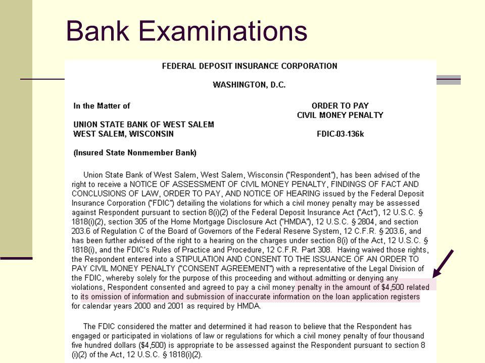 Bank Examinations