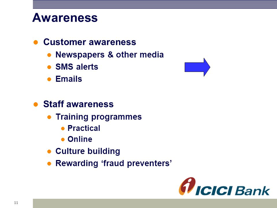 11 Awareness Customer awareness Newspapers & other media SMS alerts Emails Staff awareness Training programmes Practical Online Culture building Rewarding fraud preventers
