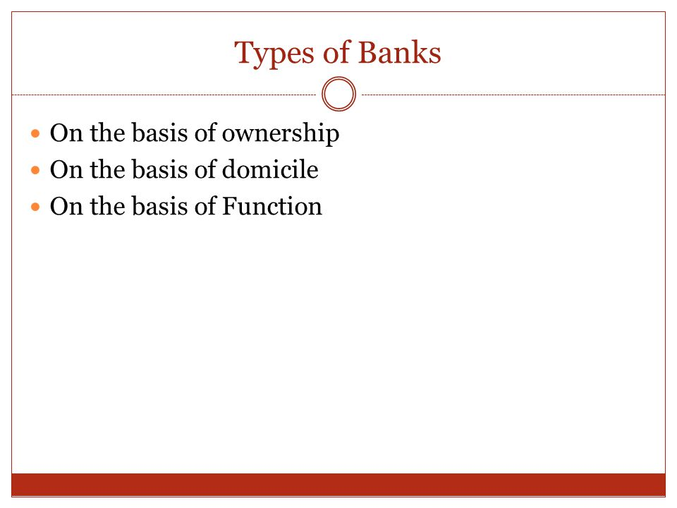 Types of Banks On the basis of ownership On the basis of domicile On the basis of Function