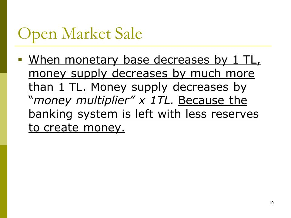 10 Open Market Sale When monetary base decreases by 1 TL, money supply decreases by much more than 1 TL. Money supply decreases bymoney multiplier x 1