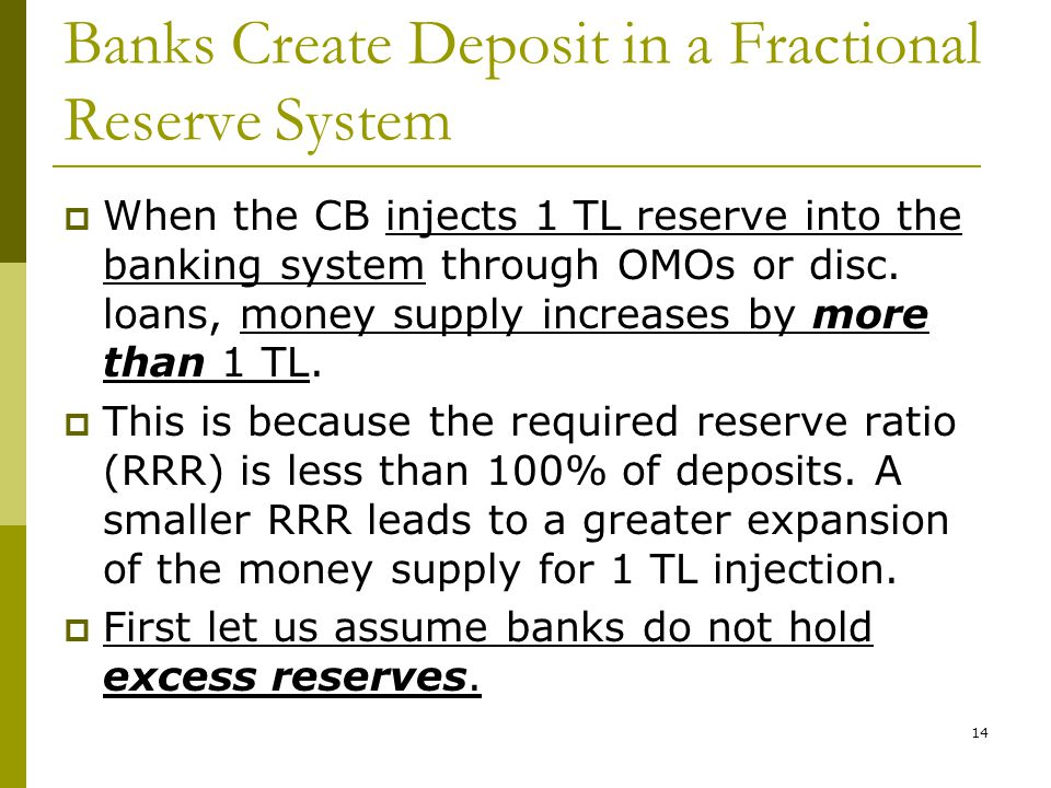 14 Banks Create Deposit in a Fractional Reserve System When the CB injects 1 TL reserve into the banking system through OMOs or disc.