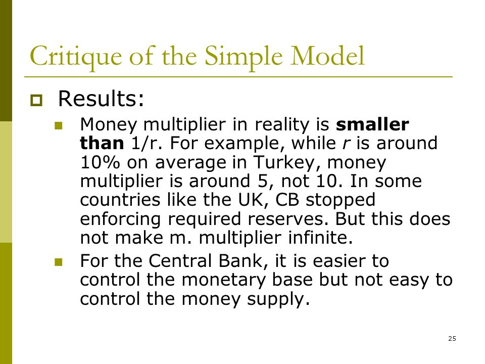 25 Critique of the Simple Model Results: Money multiplier in reality is smaller than 1/r. For example, while r is around 10% on average in Turkey, mon