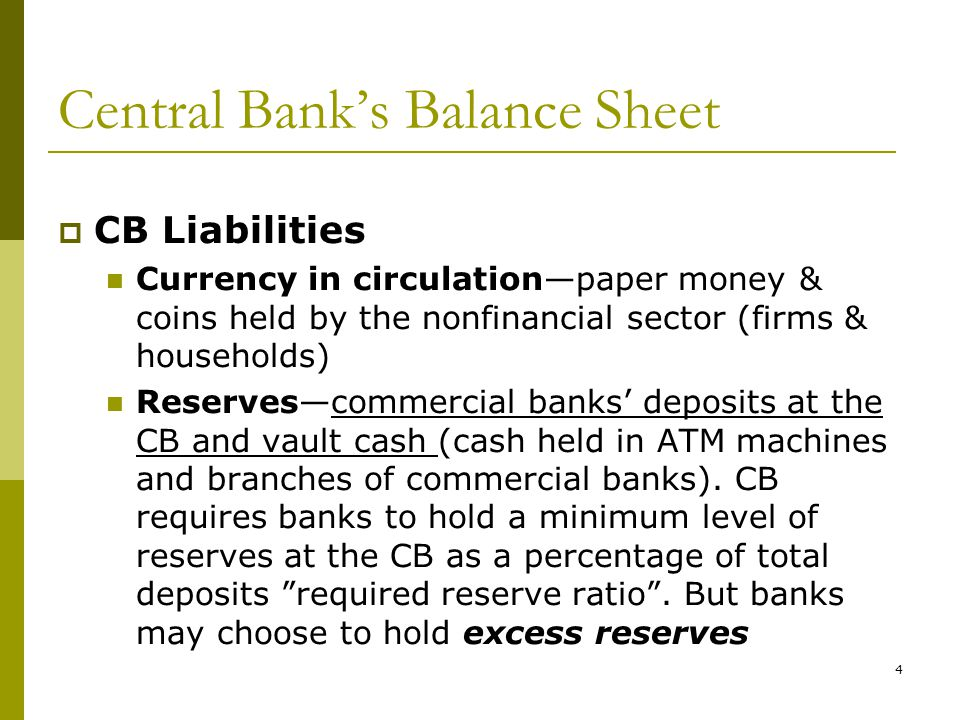 Central Banks Balance Sheet CB Liabilities Currency in circulationpaper money & coins held by the nonfinancial sector (firms & households) Reservescommercial banks deposits at the CB and vault cash (cash held in ATM machines and branches of commercial banks).