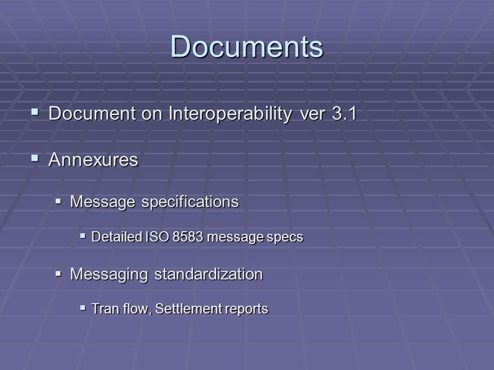 Documents Document on Interoperability ver 3.1 Document on Interoperability ver 3.1 Annexures Annexures Message specifications Message specifications Detailed ISO 8583 message specs Detailed ISO 8583 message specs Messaging standardization Messaging standardization Tran flow, Settlement reports Tran flow, Settlement reports