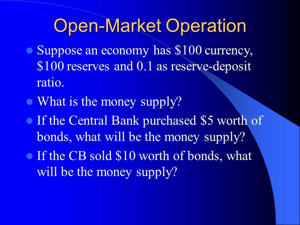 Controlling the Money Supply Open-Market Operations: buying and selling of financial assets.