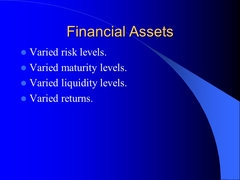 Financial Assets Savers Can Hold Currency Checking account Savings account Certificate of Deposit Foreign currency Bonds Stocks Options on stocks, bonds, foreign currency Futures on commodities, foreign currency