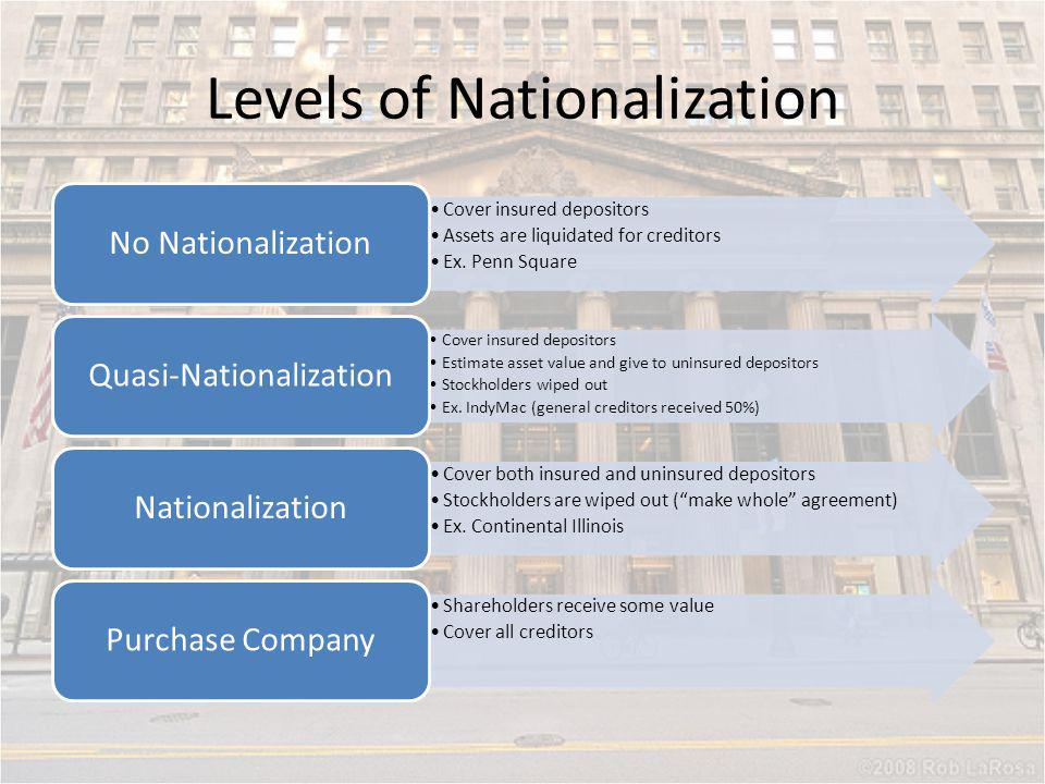 Levels of Nationalization Cover insured depositors Assets are liquidated for creditors Ex. Penn Square No Nationalization Cover insured depositors Est