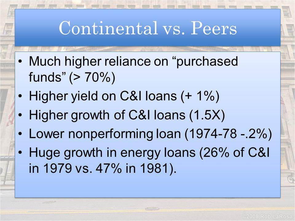 Continental vs. Peers Much higher reliance on purchased funds (> 70%) Higher yield on C&I loans (+ 1%) Higher growth of C&I loans (1.5X) Lower nonperf