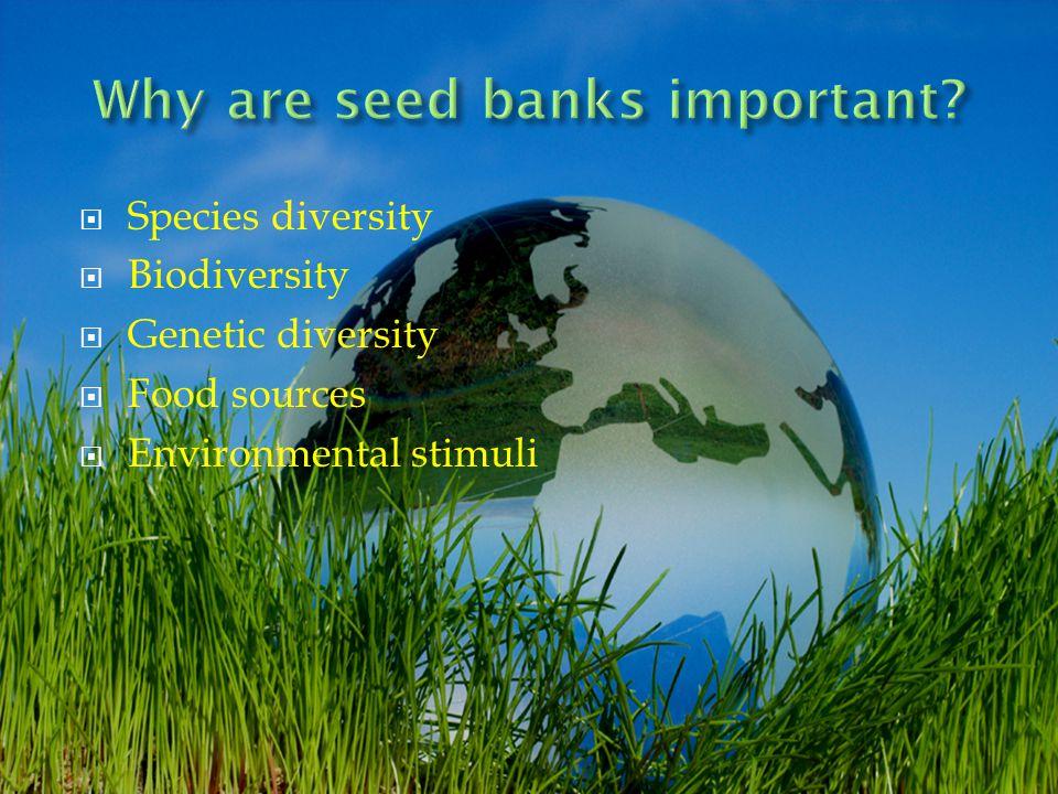 Species diversity Biodiversity Genetic diversity Food sources Environmental stimuli