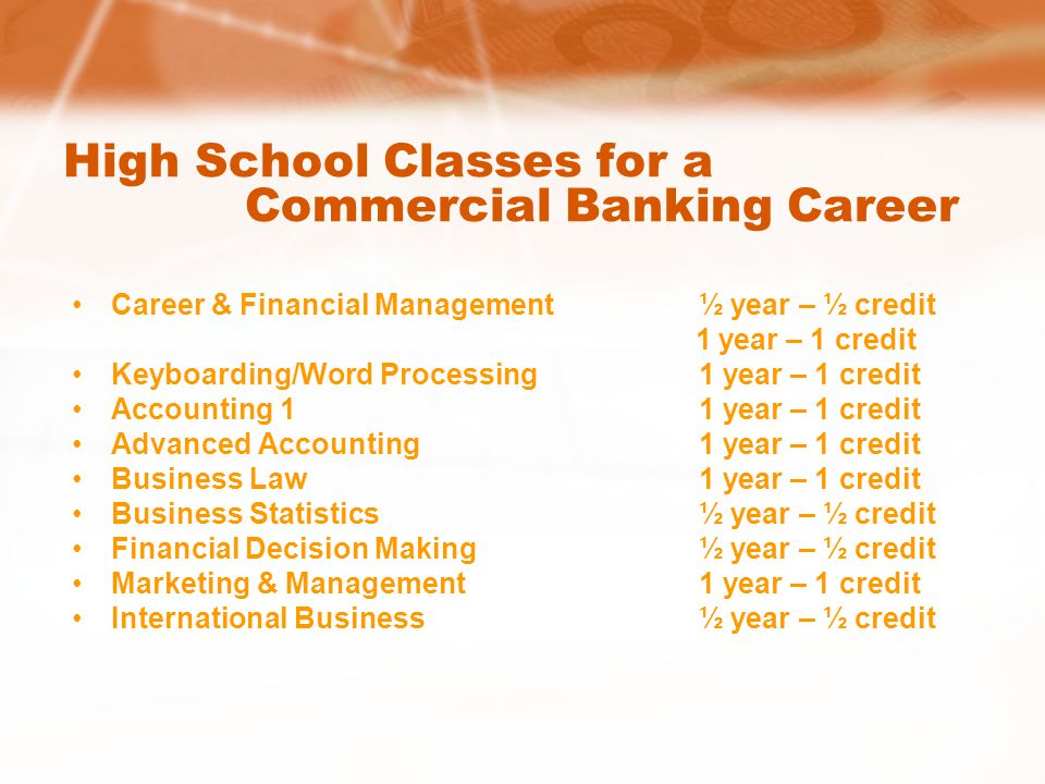 High School Classes for a Commercial Banking Career Career & Financial Management½ year – ½ credit 1 year – 1 credit Keyboarding/Word Processing1 year – 1 credit Accounting 11 year – 1 credit Advanced Accounting1 year – 1 credit Business Law1 year – 1 credit Business Statistics½ year – ½ credit Financial Decision Making½ year – ½ credit Marketing & Management1 year – 1 credit International Business½ year – ½ credit