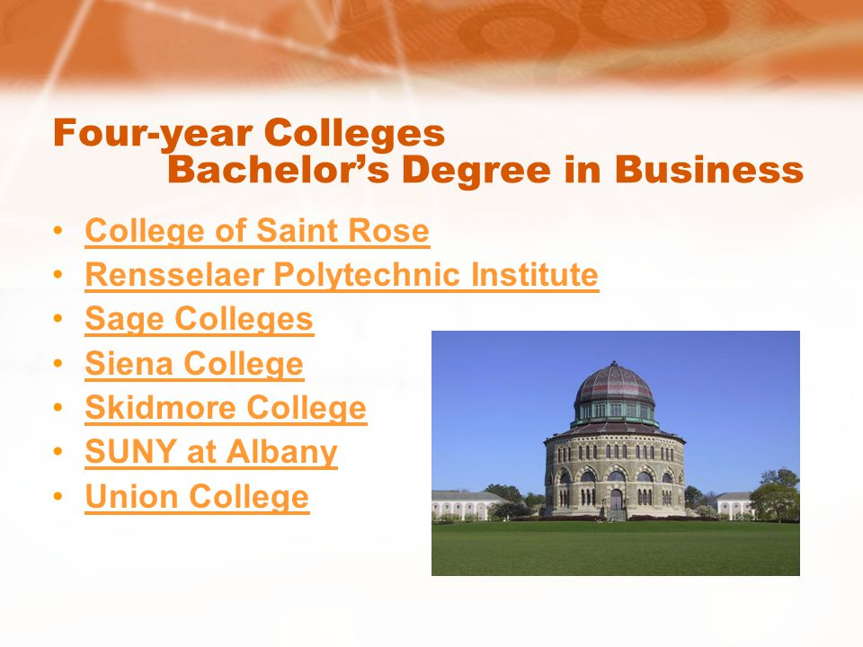 Four-year Colleges Bachelors Degree in Business College of Saint Rose Rensselaer Polytechnic Institute Sage Colleges Siena College Skidmore College SUNY at Albany Union College