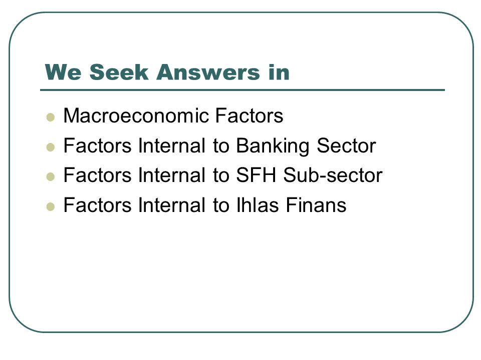 We Seek Answers in Macroeconomic Factors Factors Internal to Banking Sector Factors Internal to SFH Sub-sector Factors Internal to Ihlas Finans
