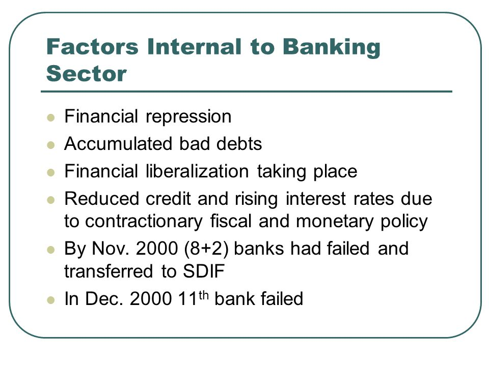 Factors Internal to Banking Sector Financial repression Accumulated bad debts Financial liberalization taking place Reduced credit and rising interest rates due to contractionary fiscal and monetary policy By Nov.