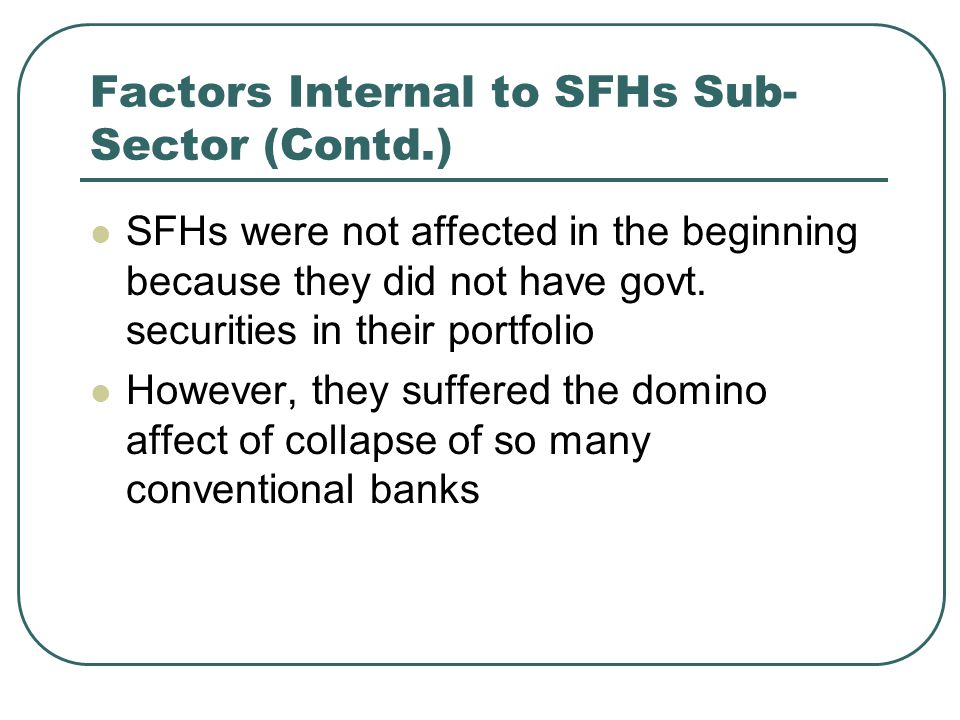 Factors Internal to SFHs Sub- Sector (Contd.) SFHs were not affected in the beginning because they did not have govt.