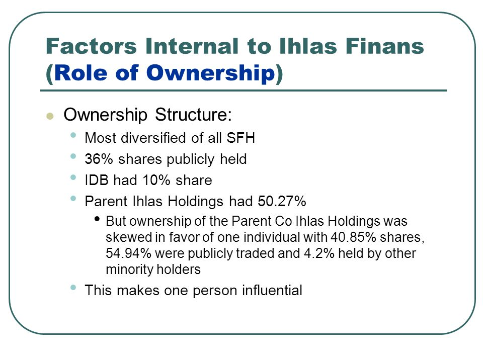 Factors Internal to Ihlas Finans (Role of Ownership) Ownership Structure: Most diversified of all SFH 36% shares publicly held IDB had 10% share Parent Ihlas Holdings had 50.27% But ownership of the Parent Co Ihlas Holdings was skewed in favor of one individual with 40.85% shares, 54.94% were publicly traded and 4.2% held by other minority holders This makes one person influential