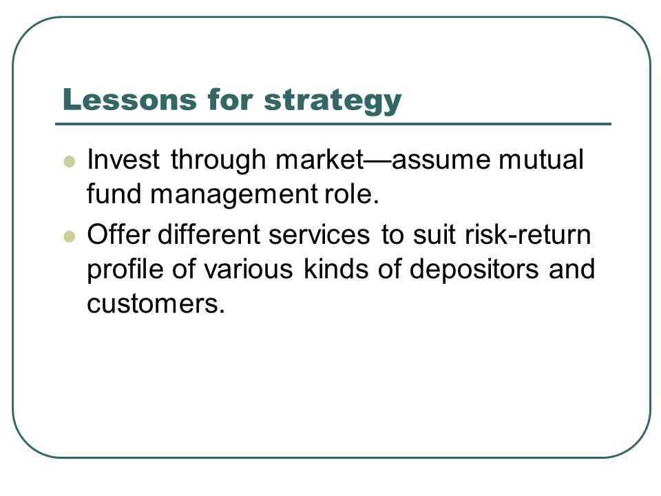 Lessons for strategy Invest through marketassume mutual fund management role.