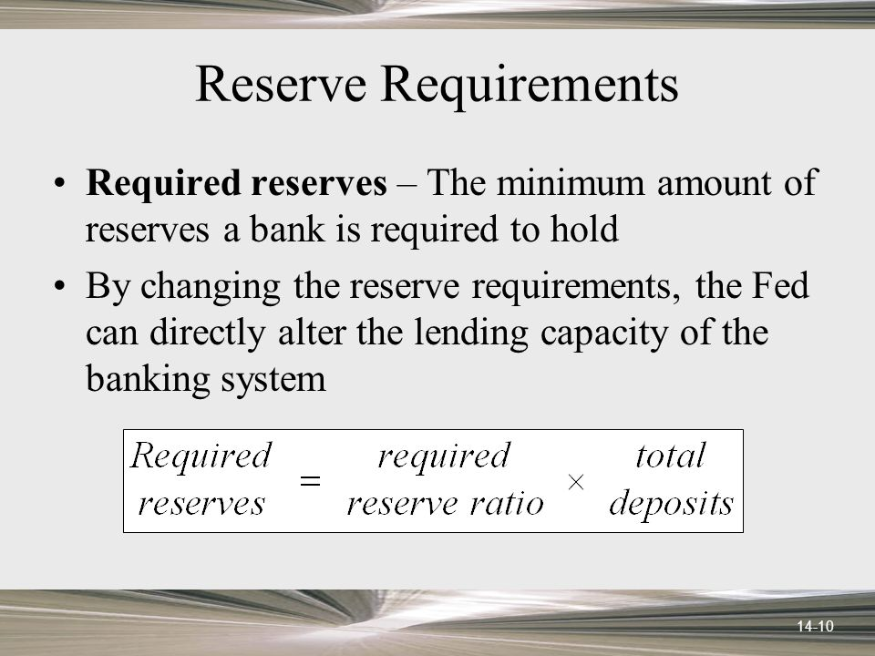 14-10 Reserve Requirements Required reserves – The minimum amount of reserves a bank is required to hold By changing the reserve requirements, the Fed can directly alter the lending capacity of the banking system