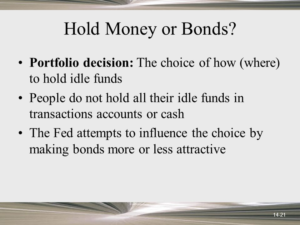 14-21 Hold Money or Bonds.