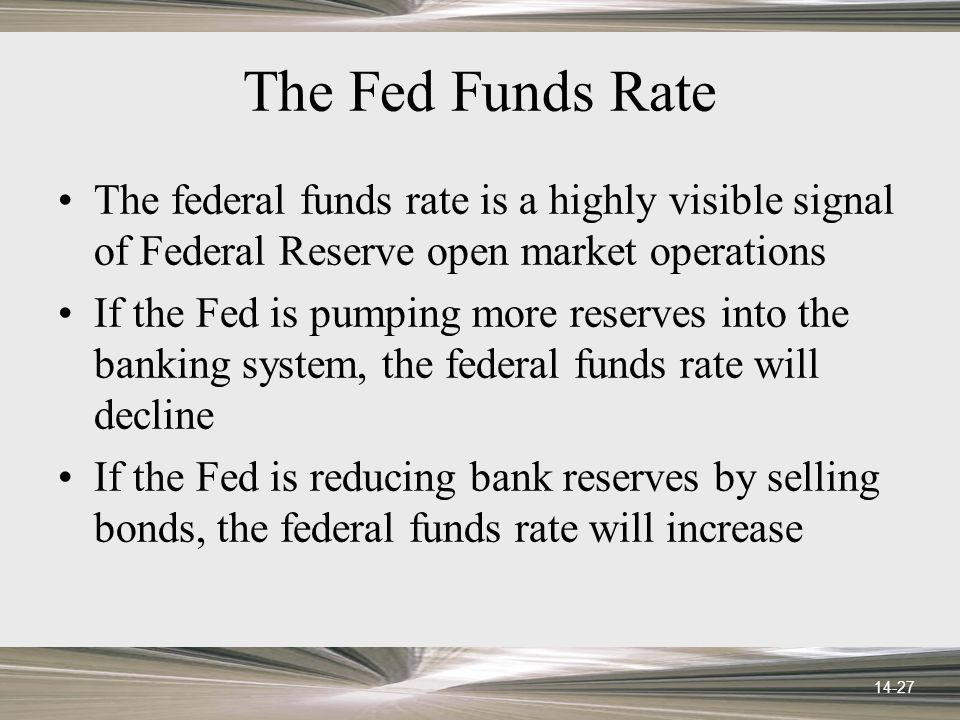 14-27 The Fed Funds Rate The federal funds rate is a highly visible signal of Federal Reserve open market operations If the Fed is pumping more reserves into the banking system, the federal funds rate will decline If the Fed is reducing bank reserves by selling bonds, the federal funds rate will increase