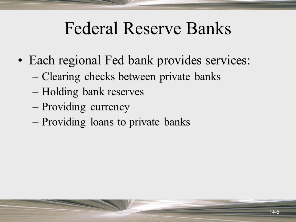 14-26 An Open-Market Purchase Federal Open Market Committee Regional Federal Reserve bank Private bank Step 2: Bond seller deposits Fed check Step 3: Bank deposits check at Fed bank, as a reserve credit Public Step 1: FOMC purchases government bonds; pays for bonds with Federal Reserve check