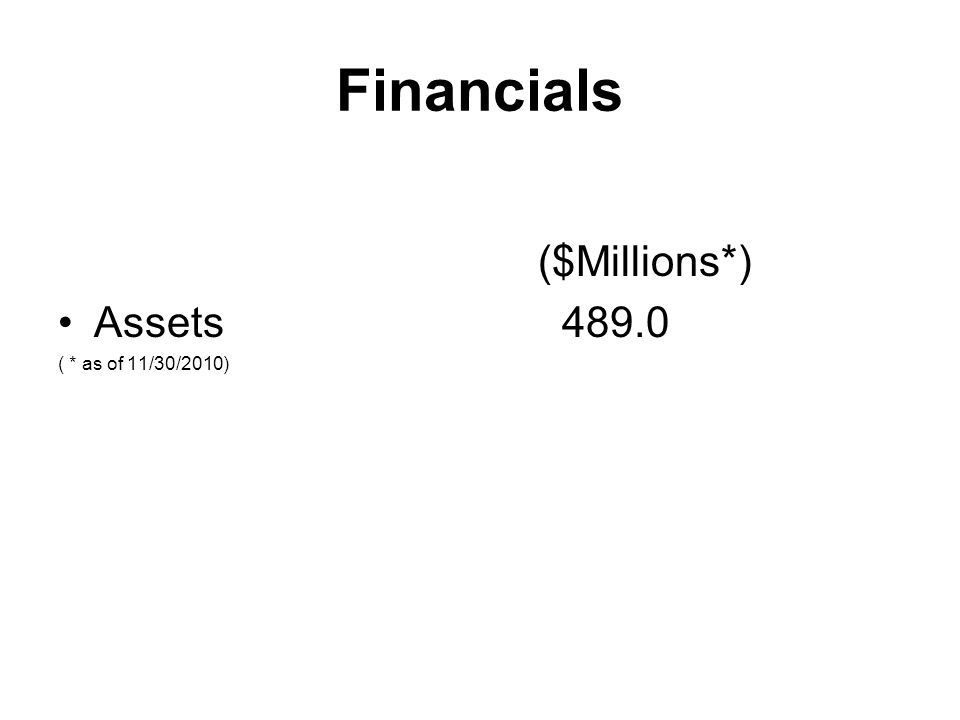 Financials ($Millions*) Assets 489.0 ( * as of 11/30/2010)