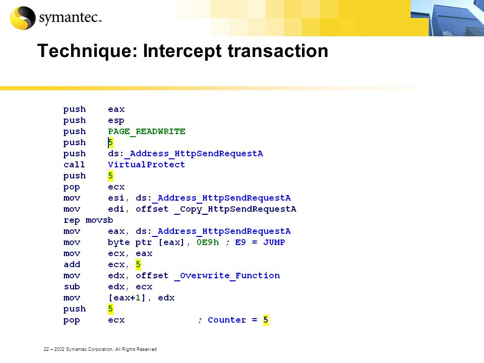 22 – 2002 Symantec Corporation, All Rights Reserved Technique: Intercept transaction