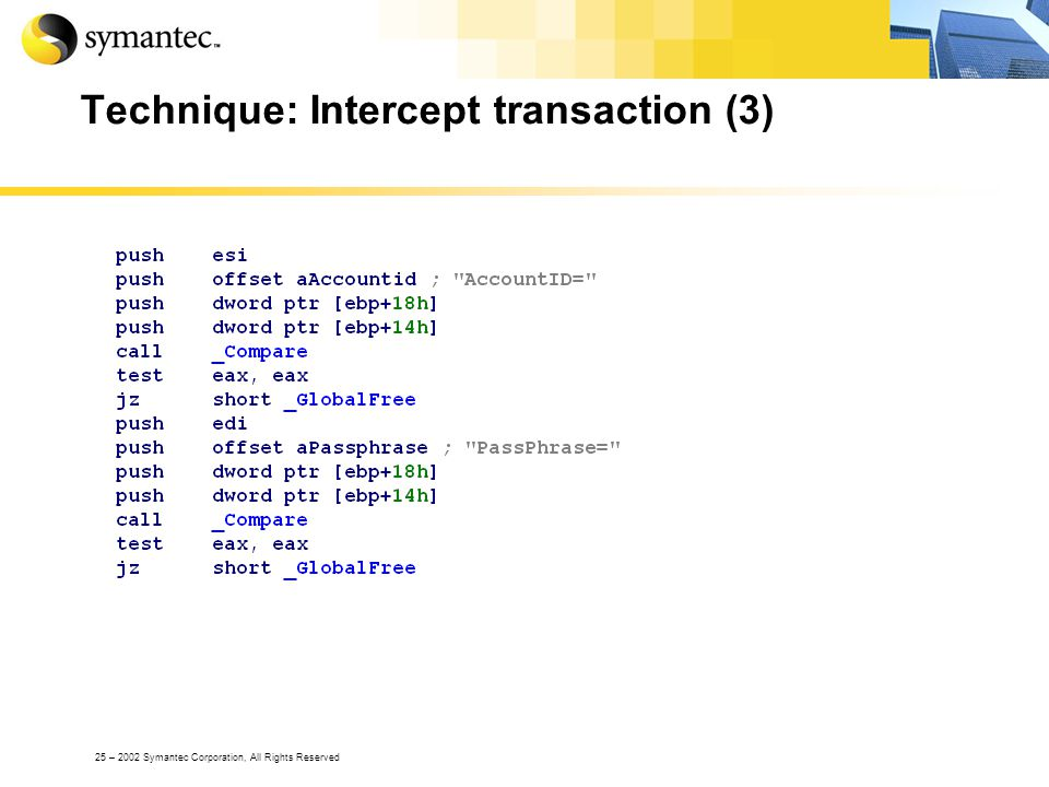 25 – 2002 Symantec Corporation, All Rights Reserved Technique: Intercept transaction (3)