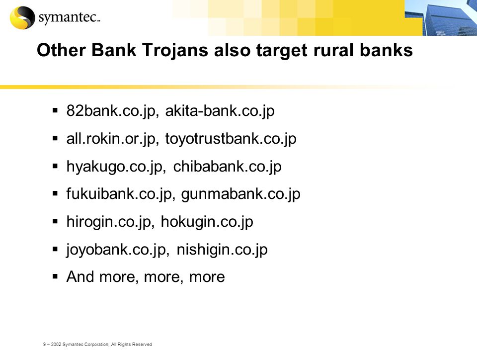 9 – 2002 Symantec Corporation, All Rights Reserved Other Bank Trojans also target rural banks 82bank.co.jp, akita-bank.co.jp all.rokin.or.jp, toyotrus