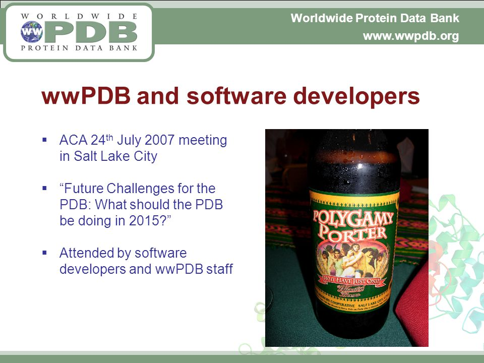 Worldwide Protein Data Bank www.wwpdb.org wwPDB and software developers ACA 24 th July 2007 meeting in Salt Lake City Future Challenges for the PDB: What should the PDB be doing in 2015.