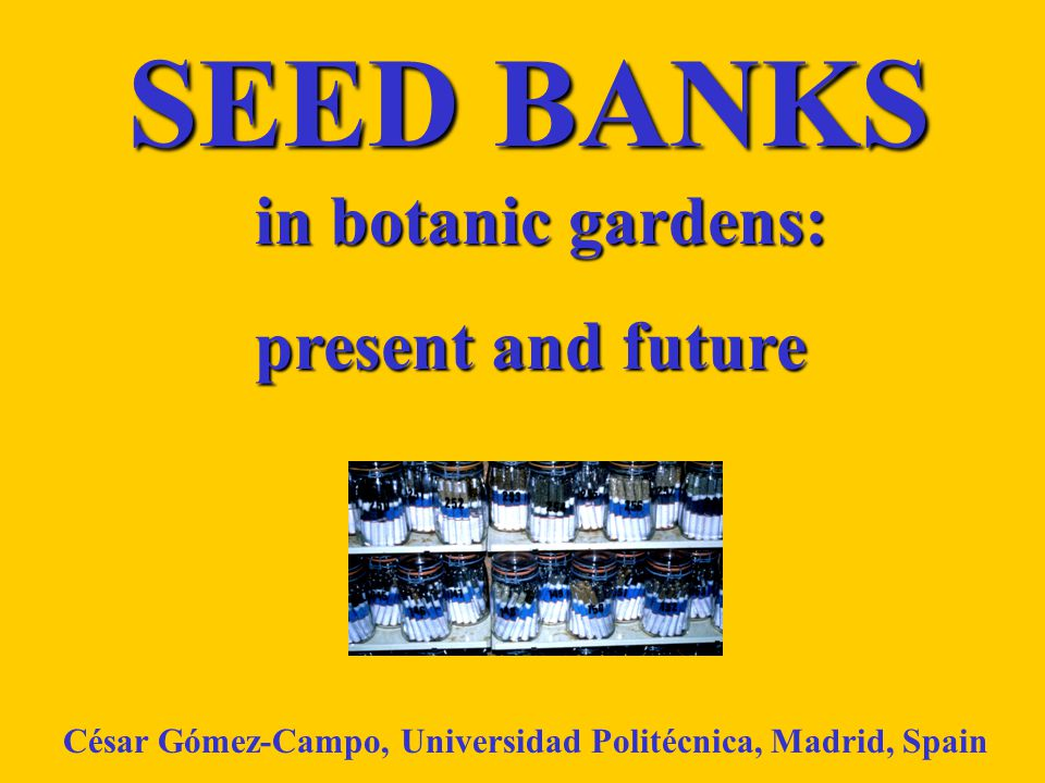 SEED BANKS in botanic gardens: in botanic gardens: present and future César Gómez-Campo, Universidad Politécnica, Madrid, Spain