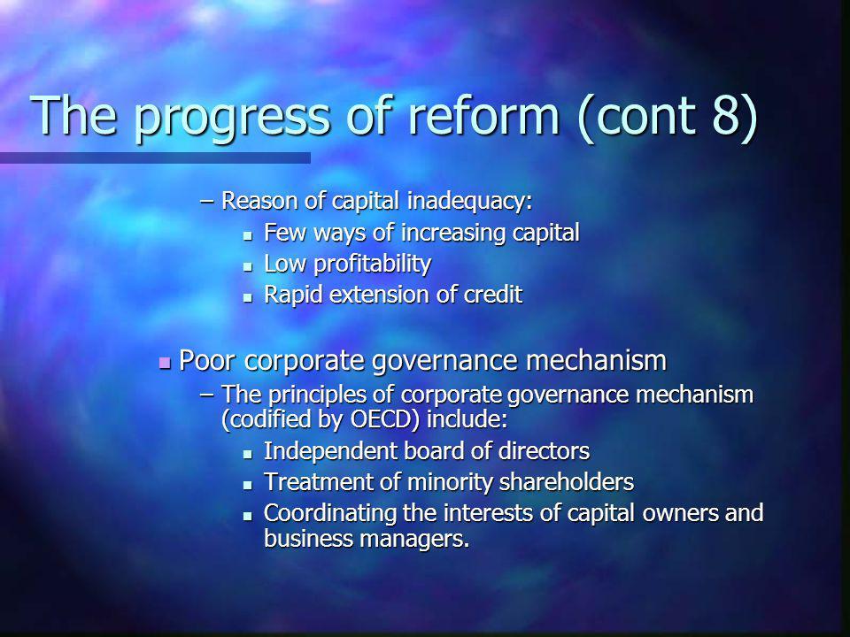 The progress of reform (cont 8) –Reason of capital inadequacy: Few ways of increasing capital Few ways of increasing capital Low profitability Low pro