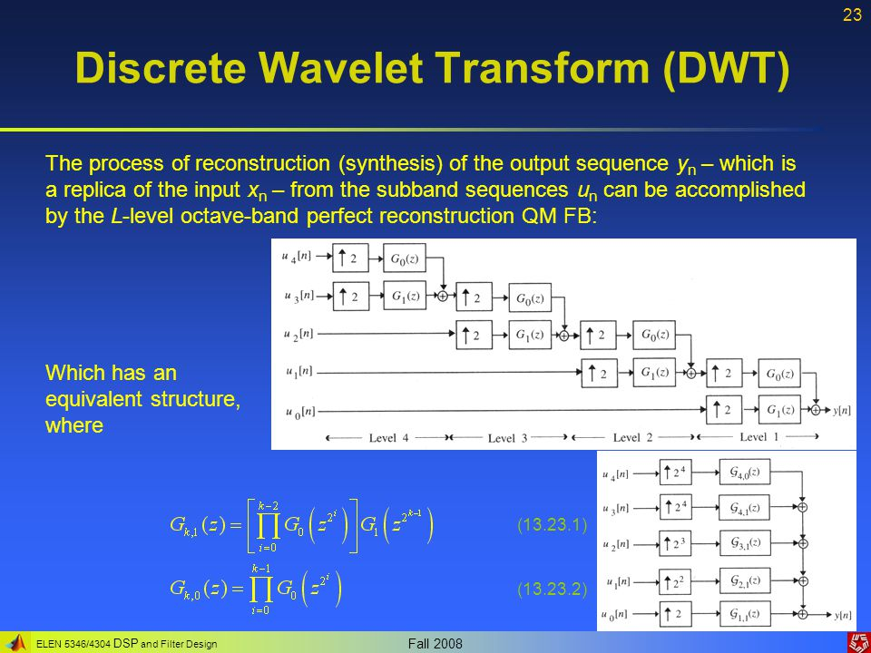 ELEN 5346/4304 DSP and Filter Design Fall 2008 23 Discrete Wavelet Transform (DWT) The process of reconstruction (synthesis) of the output sequence y