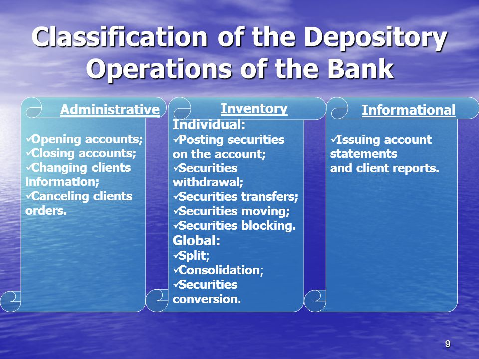 9 Classification of the Depository Operations of the Bank Administrative Opening accounts; Closing accounts; Changing clients information; Canceling clients orders.