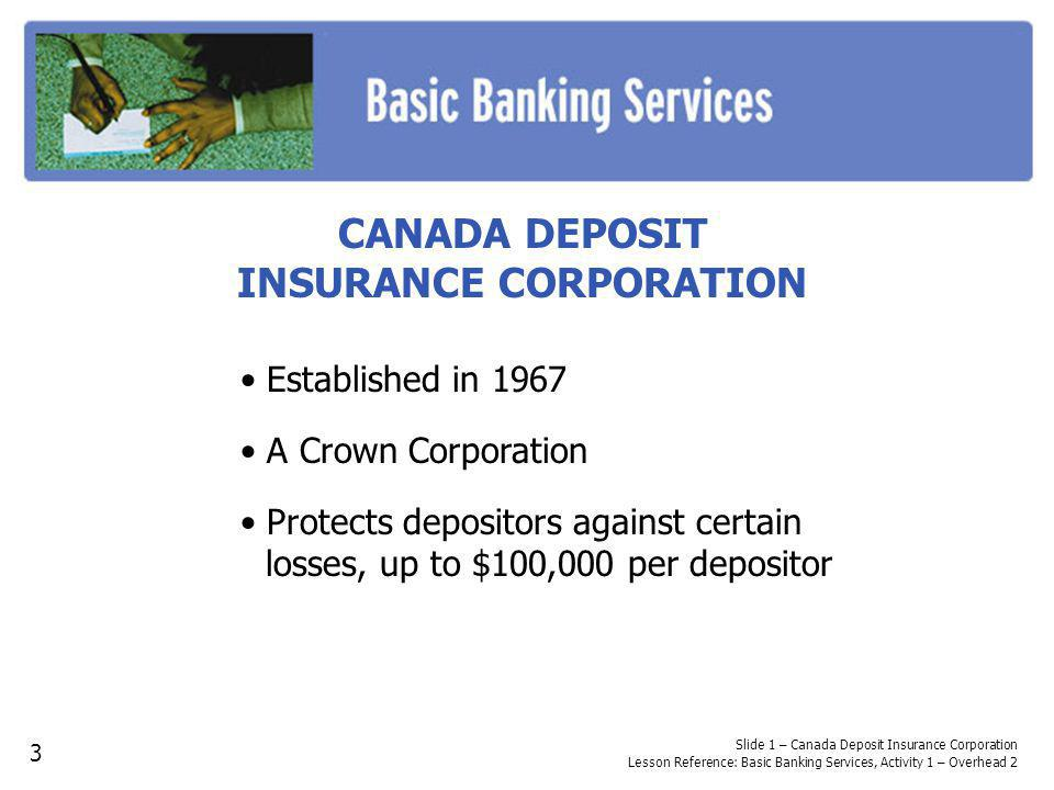CANADA DEPOSIT INSURANCE CORPORATION Established in 1967 A Crown Corporation Protects depositors against certain losses, up to $100,000 per depositor Slide 1 – Canada Deposit Insurance Corporation Lesson Reference: Basic Banking Services, Activity 1 – Overhead 2 3