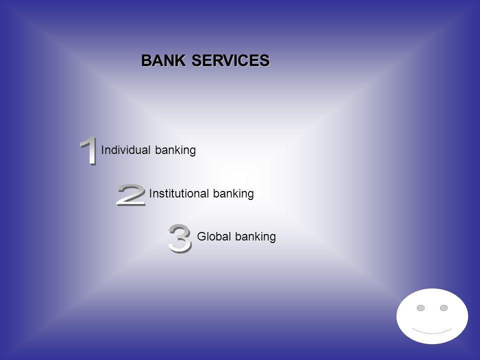 BANK SERVICES Individual banking Institutional banking Global banking