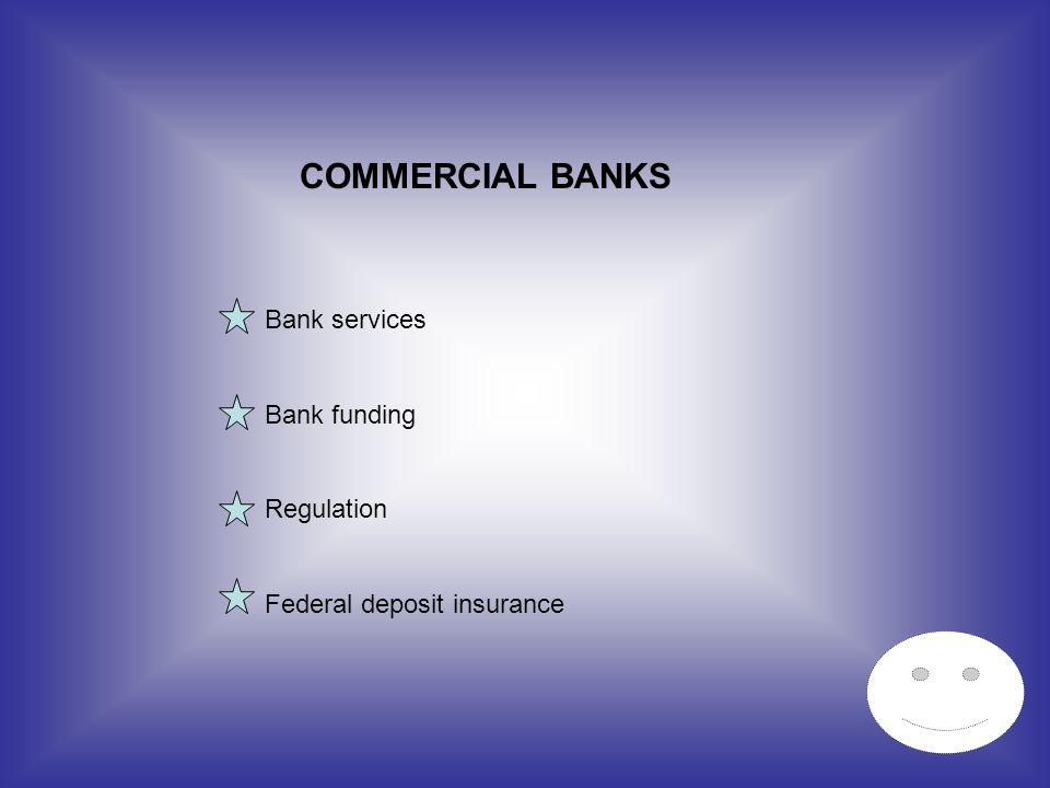 COMMERCIAL BANKS Bank services Bank funding Regulation Federal deposit insurance