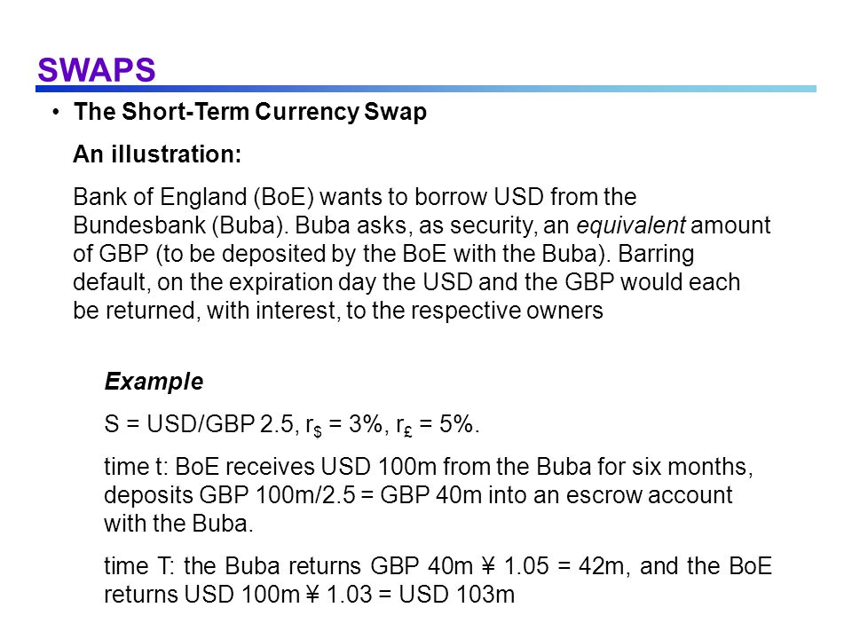 SWAPS Characteristics of the Modern Currency Swap (cont.) Zero Initial value The initial exchange of principals is a zero-value transaction because the amounts are initially equivalent.