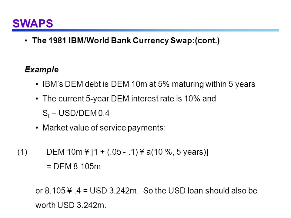 SWAPS The 1981 IBM/World Bank Currency Swap:(cont.) Example IBMs DEM debt is DEM 10m at 5% maturing within 5 years The current 5-year DEM interest rat