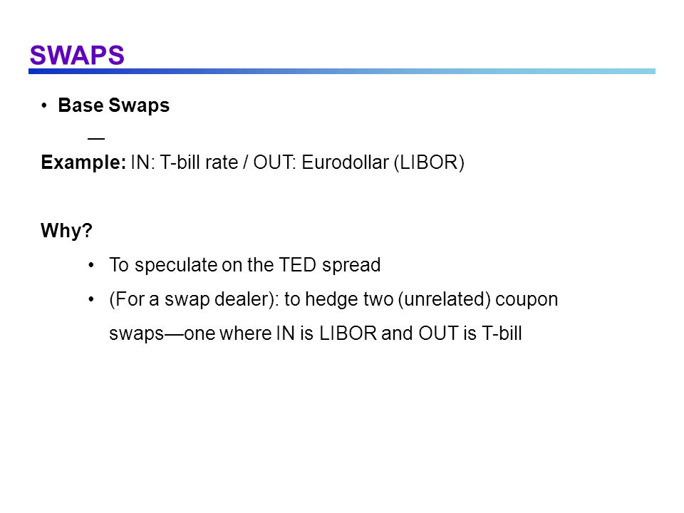SWAPS Base Swaps Example: IN: T-bill rate / OUT: Eurodollar (LIBOR) Why? To speculate on the TED spread (For a swap dealer): to hedge two (unrelated)