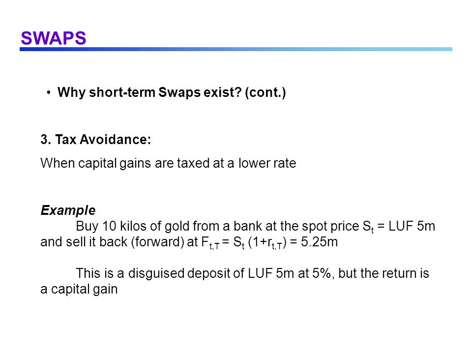 SWAPS The Fixed-for-Fixed Currency Swap (cont.) the rates used for setting the forward rate or, equivalently, for discounting the promised payments are the (near-riskless) short-term interbank rates: default risk is limited by the forward contracts right-of-offset remaining risks are largely eliminated by screening of the customers, and by margins or other pledges
