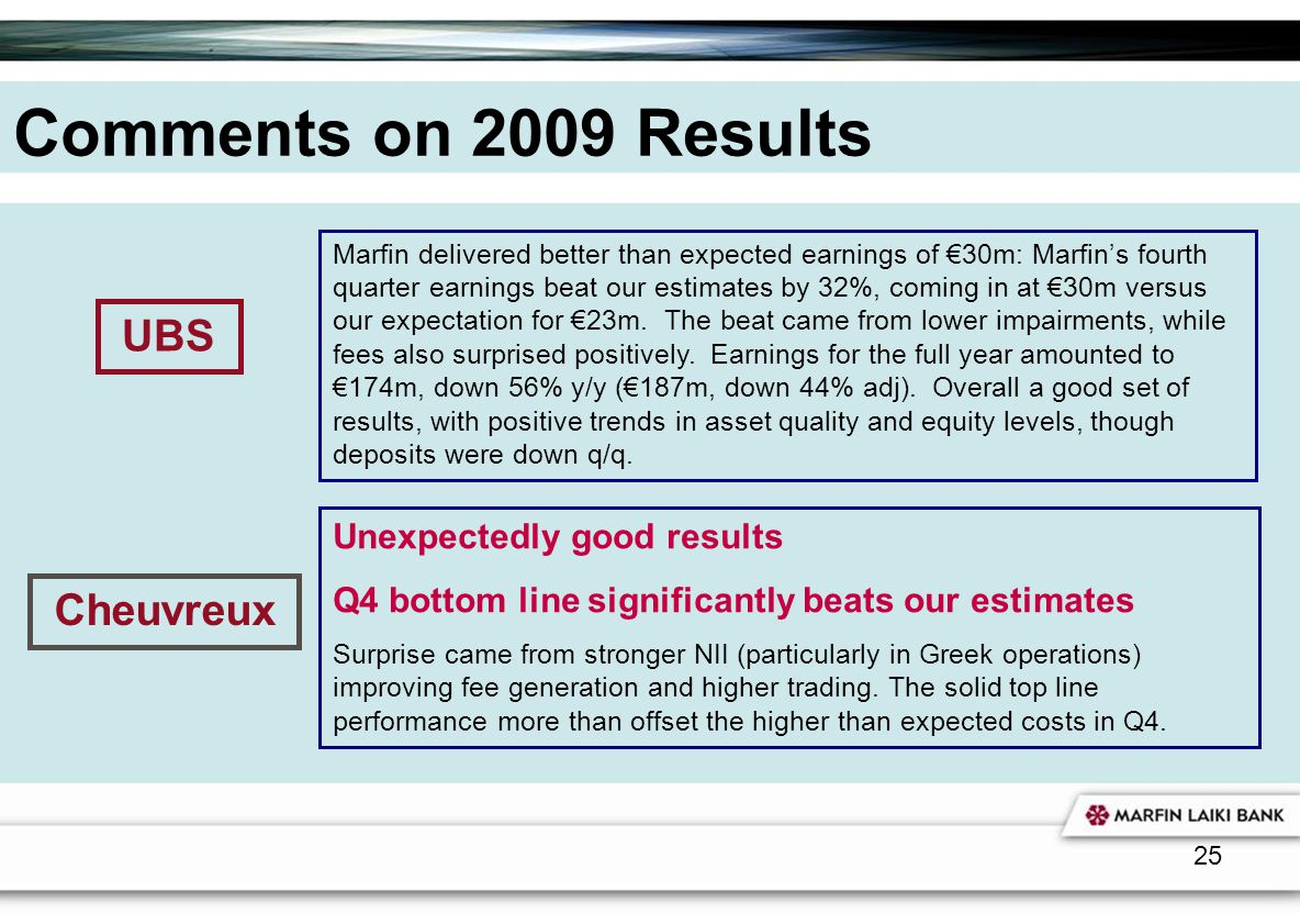 25 Comments on 2009 Results Marfin delivered better than expected earnings of 30m: Marfins fourth quarter earnings beat our estimates by 32%, coming i