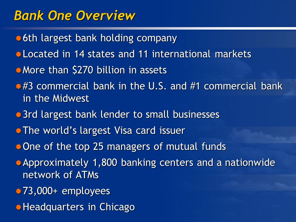 6th largest bank holding company 6th largest bank holding company Located in 14 states and 11 international markets Located in 14 states and 11 international markets More than $270 billion in assets More than $270 billion in assets #3 commercial bank in the U.S.
