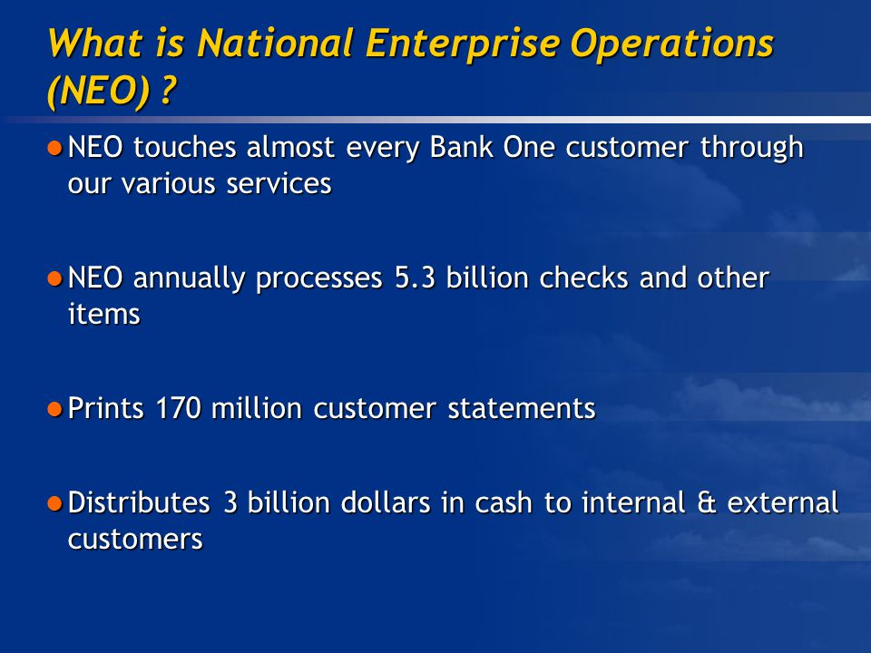 What is National Enterprise Operations (NEO) .