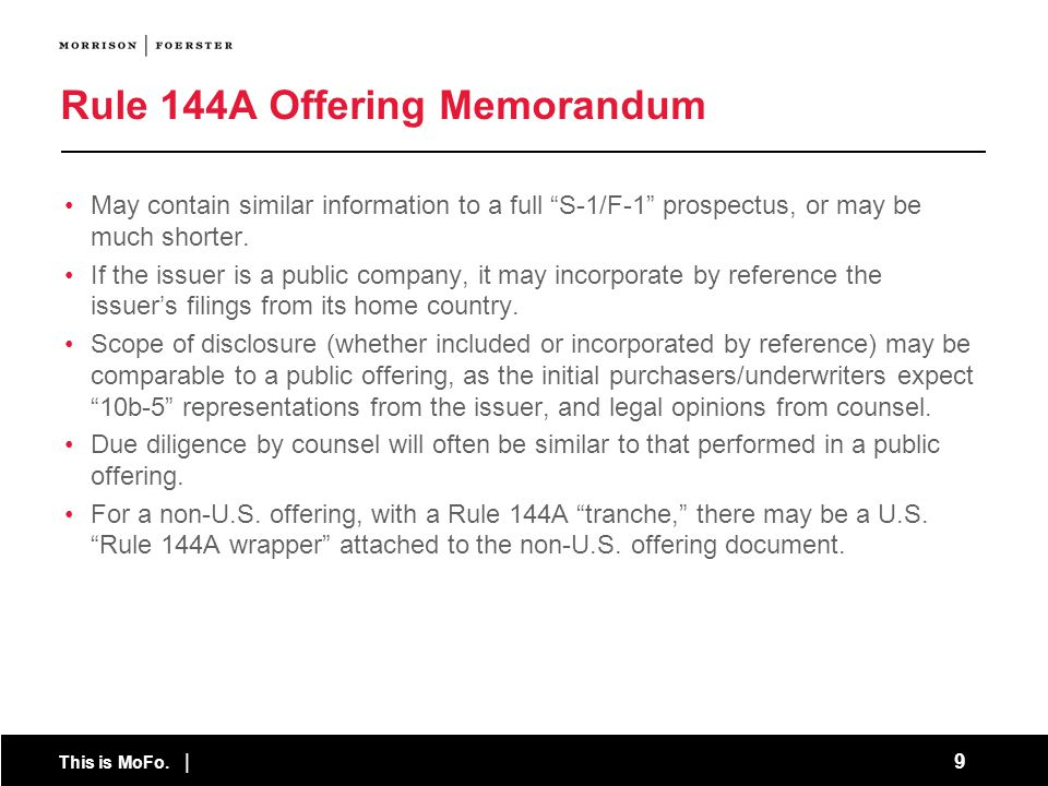 This is MoFo. 80 Specialized Disclosure Requirements