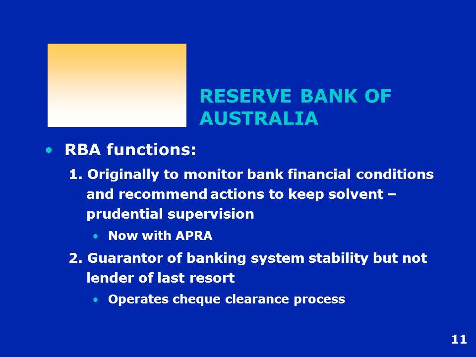 11 RESERVE BANK OF AUSTRALIA RBA functions: 1.