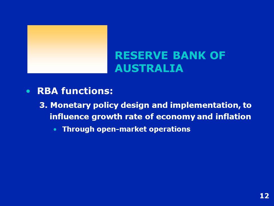 12 RESERVE BANK OF AUSTRALIA RBA functions: 3.